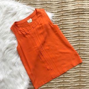 Kate Spade Womens Orange Silk Sleeveless Blouse